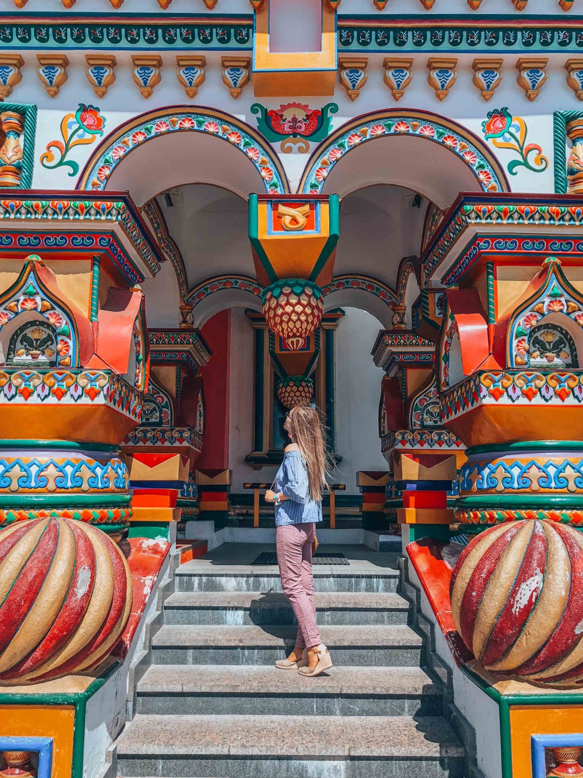 girl in a colorful building in Moscow